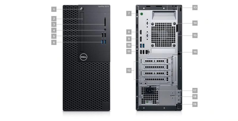 Dell Optiplex 3070 MT Portlar
