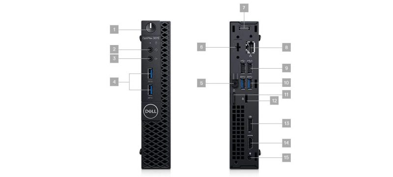 Dell Optiplex 3070 MFF-Portlar