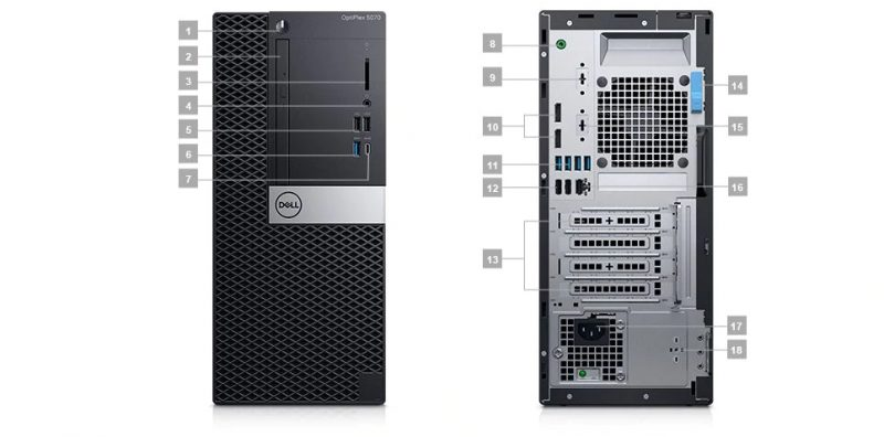Dell Optiplex 5070 MT Portlar