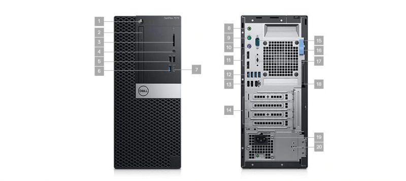 Dell Optiplex 7070 MT Portlar