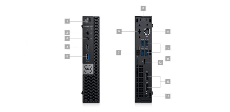 Dell Optiplex 7070 MFF Portlar